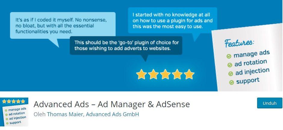 plugin wordpress untuk adsense gratis